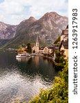 hallstatt town in austrian alps ... | Shutterstock . vector #1263917983