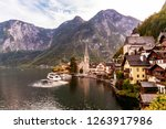 hallstatt town in austrian alps ... | Shutterstock . vector #1263917986