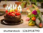 happy birthday cake and tulips... | Shutterstock . vector #1263918790