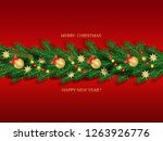 christmas garland of fir... | Shutterstock .eps vector #1263926776