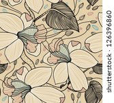 vector floral seamless pattern... | Shutterstock .eps vector #126396860