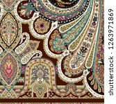 iranian paisley shawl scarf... | Shutterstock . vector #1263971869