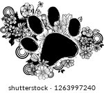 paws shape with flora design   Shutterstock .eps vector #1263997240