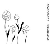 vector hand drawn flowers with...   Shutterstock .eps vector #1264006939