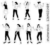 set of silhouettes of slim...   Shutterstock .eps vector #1264021489
