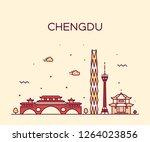 chengdu skyline  sichuan... | Shutterstock .eps vector #1264023856