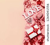 valentines day flat lay... | Shutterstock . vector #1264041556