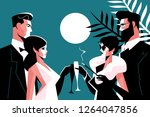 stylish forties concept party... | Shutterstock .eps vector #1264047856