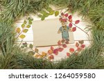 new year greeting card with pig....   Shutterstock . vector #1264059580