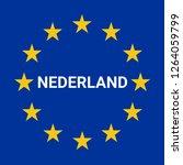 netherlands border road sign... | Shutterstock . vector #1264059799
