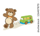 Teddy Bear Toy Pulling A Bus ...