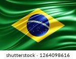 brazil  flag of silk  3d... | Shutterstock . vector #1264098616
