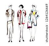 fashion girls sketch. fashion... | Shutterstock .eps vector #1264126669