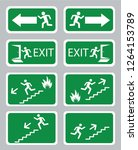 emergency exit sign collection | Shutterstock .eps vector #1264153789