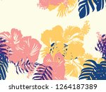 tropical background. green ... | Shutterstock .eps vector #1264187389