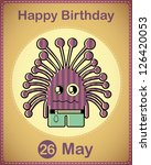 happy birthday card with cute...   Shutterstock .eps vector #126420053