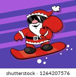 cute santa claus with a bag of... | Shutterstock .eps vector #1264207576