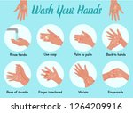 wash your hands. steps of how... | Shutterstock .eps vector #1264209916