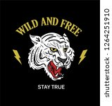 angry white wild tiger fashion...   Shutterstock .eps vector #1264251910