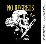 knife skull roses trendy phrase ... | Shutterstock .eps vector #1264251913