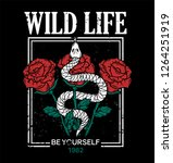 wild life trendy embroidery... | Shutterstock .eps vector #1264251919