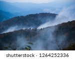 Mountain landscape with low clouods or morning fog