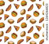 doodle pattern fast food ...   Shutterstock .eps vector #1264266823