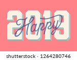 happy 2019 new year card vector ... | Shutterstock .eps vector #1264280746
