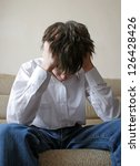 sad teenager sitting on the... | Shutterstock . vector #126428426