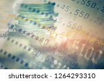 double exposure of coins and... | Shutterstock . vector #1264293310