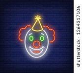 funny clown face neon sign....   Shutterstock .eps vector #1264317106