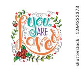 you are loved hand lettering.... | Shutterstock .eps vector #1264332373