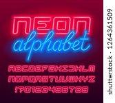 red neon tube alphabet font.... | Shutterstock .eps vector #1264361509