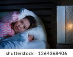 young beautiful sad and... | Shutterstock . vector #1264368406