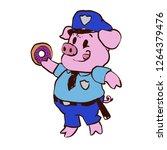 police pig eating donut   Shutterstock .eps vector #1264379476