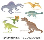 set of dinosaurs isolated on... | Shutterstock .eps vector #1264380406