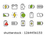 charge and battery color line...   Shutterstock .eps vector #1264456153