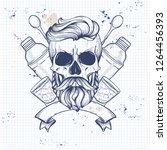 sketch  barman skull | Shutterstock .eps vector #1264456393