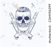 sketch  barman skull | Shutterstock .eps vector #1264456399