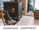 cold fall or winter day. woman... | Shutterstock . vector #1264470019