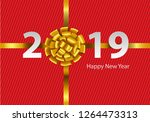 happy new year 2019 gold ribbon ... | Shutterstock .eps vector #1264473313