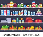 food products on shop shelf.... | Shutterstock .eps vector #1264493566