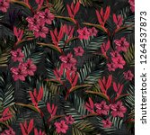 tropical floral pattern  | Shutterstock . vector #1264537873
