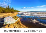 broken boat on sand beach scene.... | Shutterstock . vector #1264557439
