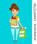 a young girl of european... | Shutterstock .eps vector #1264572733