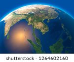 Physical map of the world, satellite view of  Southeast Asia Globe. Hemisphere. Reliefs and oceans. 3d rendering. Element of this image are furnished by NASA
