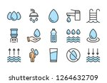 water color line icons. liquid...