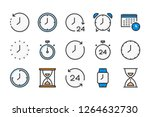 time and clock color line icons....