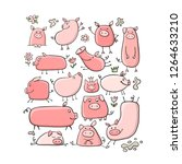 cute pigs collection for your... | Shutterstock .eps vector #1264633210