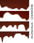 Melted chocolate dripping set on white background - stock photo